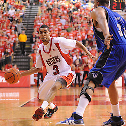 Feb 8, 2009; Piscataway, NJ, USA; Rutgers guard Mike Rosario (3) puts a pass into the paint during the second half of Seton Hall's 65-60 victory at the Louis Brown Athletic Center.