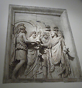 Relief depicting imperial triumph. This panel shows the Roman Emperor amongst the people. Roman, Circa 2nd century AD.
