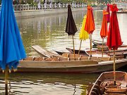 12 FEBRUARY 2015 - BANGKOK, THAILAND: Boats wait for vendors at the new floating market open on Khlong Phadung Krung Kasem, a 5.5 kilometre long canal dug as a moat around Bangkok in the 1850s. The floating market opened at the north end of the canal near Government House, which is the office of the Prime Minister. The floating market was the idea of Thai Prime Minister General Prayuth Chan-ocha. The market will be open until March 1.    PHOTO BY JACK KURTZ