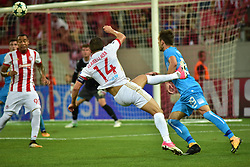 August 16, 2017 - Piraeus, Attiki, Greece - Shot of Omar Elabdellaoui (no 14) of Olympiacos in front of Marko Vesovic (no 29) of HNK Rijeka..Olympiacos manage to win 2-1 against HNK Rijeka in the first game for the UEFA Champions League play-offs, despite the fact that HNK Rijeka has achieved goal first. After this match the attention of the both team is going to focus to the rematch. (Credit Image: © Dimitrios Karvountzis/Pacific Press via ZUMA Wire)