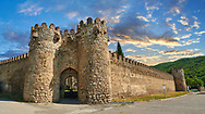 Pictures & images of the medieval the fortified gate house and fortified curtain wall of  Ninotsminda Cathedral, 575 AD, Sagarejo, in the Kakheti region, Georgia (country).<br /> <br /> Ninotsminda Cathedral is a highly important Georgian architectural building, which served as a model for the development of the later tetraconch, four-apse design of church. .<br /> <br /> Visit our MEDIEVAL PHOTO COLLECTIONS for more   photos  to download or buy as prints https://funkystock.photoshelter.com/gallery-collection/Medieval-Middle-Ages-Historic-Places-Arcaeological-Sites-Pictures-Images-of/C0000B5ZA54_WD0s<br /> <br /> Visit our REPUBLIC of GEORGIA HISTORIC PLACES PHOTO COLLECTIONS for more photos to browse, download or buy as wall art prints https://funkystock.photoshelter.com/gallery-collection/Pictures-Images-of-Georgia-Country-Historic-Landmark-Places-Museum-Antiquities/C0000c1oD9eVkh9c