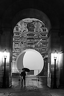 France. Paris. 1st district. Louvre museum   , mirror set up in the Cour carree