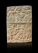 Pictures & images of the North Gate Hittite sculpture stele depicting musicians playing instruments. 8the century BC.  Karatepe Aslantas Open-Air Museum (Karatepe-Aslantaş Açık Hava Müzesi), Osmaniye Province, Turkey. Against black background