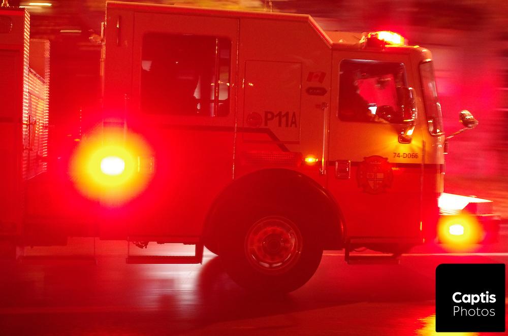 A fire truck responds to a call in Ottawa.