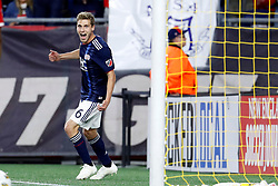 September 22, 2018 - Foxborough, MA, U.S. - FOXBOROUGH, MA - SEPTEMBER 22: New England Revolution midfielder Scott Caldwell (6) reacts to his goal during a match between the New England Revolution and the Chicago Fire on September 22, 2018, at Gillette Stadium in Foxborough, Massachusetts. The teams played to a 2-2 draw. (Photo by Fred Kfoury III/Icon Sportswire) (Credit Image: © Fred Kfoury Iii/Icon SMI via ZUMA Press)