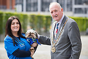 NO FEE PICTURES                                                                                                                                            9/5/19 Lesley Barber, Village Vets and Cuddles the Yorkie with Lord Mayor Niall Ring at the launch of Ireland's favourite animal friendly event, Pets in the City, which will take place in Dublin's Smithfield Square on Sunday May 19th from 1130am to 430pm. Picture: Arthur Carron