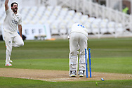 Michael Jones of Durham wicket in disaray during the LV= Insurance County Championship match between Nottinghamshire County Cricket Club and Durham County Cricket Club at Trent Bridge, Nottingham, United Kingdom on 10 April 2021.