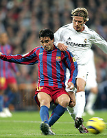 Fotball<br /> Spania 2005/2006<br /> Foto: Miguelez/Digitalsport<br /> NORWAY ONLY<br /> <br /> 19.11.2005<br /> Real Madrid v Barcelona 0-3<br /> <br /> Deco and David Beckham