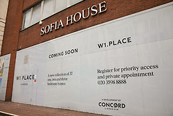 London, UK. 29th May, 2021. Sofia House, a former 1980s office building at 204a Great Portland Street in Marylebone, is being redeveloped as W1 Place, an 8-storey mixed use building comprising retail space, 37 apartments and parking. In 2018, the building was occupied by housing activists to set up a support centre for the homeless called the Sofia Solidarity Centre.