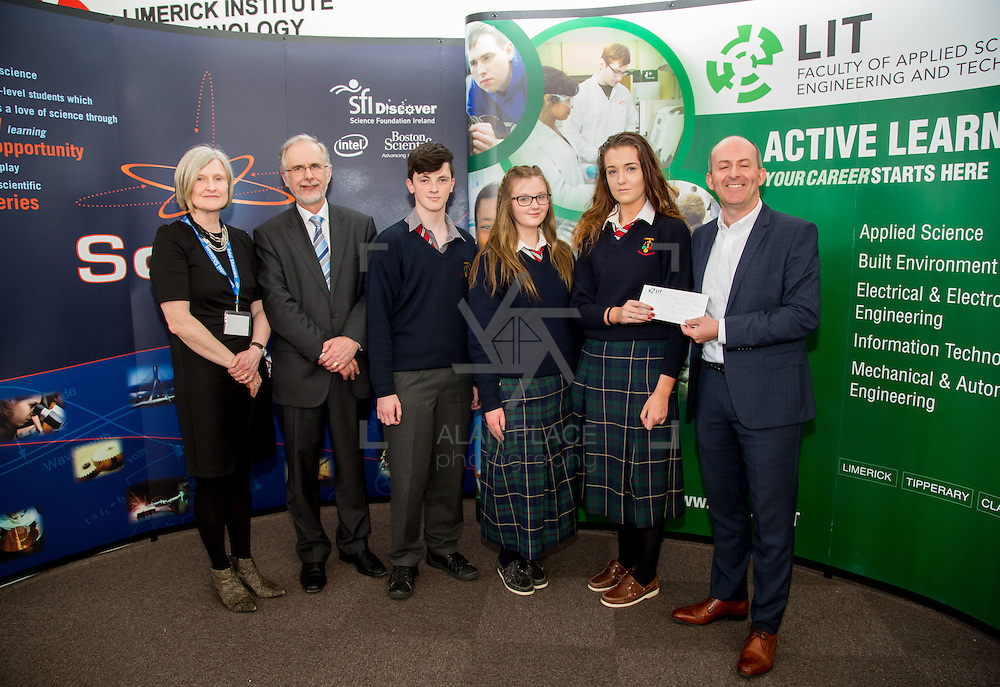 27.04.2016.          <br />  Kalin Foy and Ciara Coyle win SciFest@LIT<br /> Kalin Foy and Ciara Coyle from Colaiste Chiarain Croom to represent Limerick at Ireland's largest science competition.<br /> <br /> John The Baptist Community School students, Jake Thompson, Chelsea Collins and Caoimhe Lynch's project, Protect your sight in a UFC fight, won Physical Sciences Intermed/senior first.  Jake Thompson, Chelsea Collins and Caoimhe Lynch are pictured with George Porter, SciFest and Brian Aherne, Intel<br /> <br /> Of the over 110 projects exhibited at SciFest@LIT 2016, the top prize on the day went to Kalin Foy and Ciara Coyle from Colaiste Chiarain Croom for their project, 'To design and manufacture wireless trailer lights'. The runner-up prize went to a team from John the Baptist Community School, Hospital with their project on 'Educating the Youth of Ireland about Farm Safety'. Picture: Fusionshooters