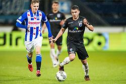 (L-R) Martin Odegaard of sc Heerenveen, Mustafa Saymak of PEC Zwolle during the Dutch Eredivisie match between sc Heerenveen and PEC Zwolle at Abe Lenstra Stadium on November 25, 2017 in Heerenveen, The Netherlands