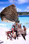 Outrigger Sailing Canoe, Kitava, Trobriands, Papua New Guinea<br />
