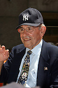 Yogi Berra at the Major League Baseball All-Stars and 49 Hall of Famers ride up Sixth Avenue in All Star-Game Red Carpet Parade Presented by Chevy on July 15, 2008