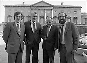 1983-11-83.11th Octoer 1983.11-10-1983.10-11-83..Photographed at Seanad Éireann..Senatorial style:..Four members of Seanad Éireann enjoy the rare rays of an October sun outside the Upper House of the Oireachtas in Dublin.