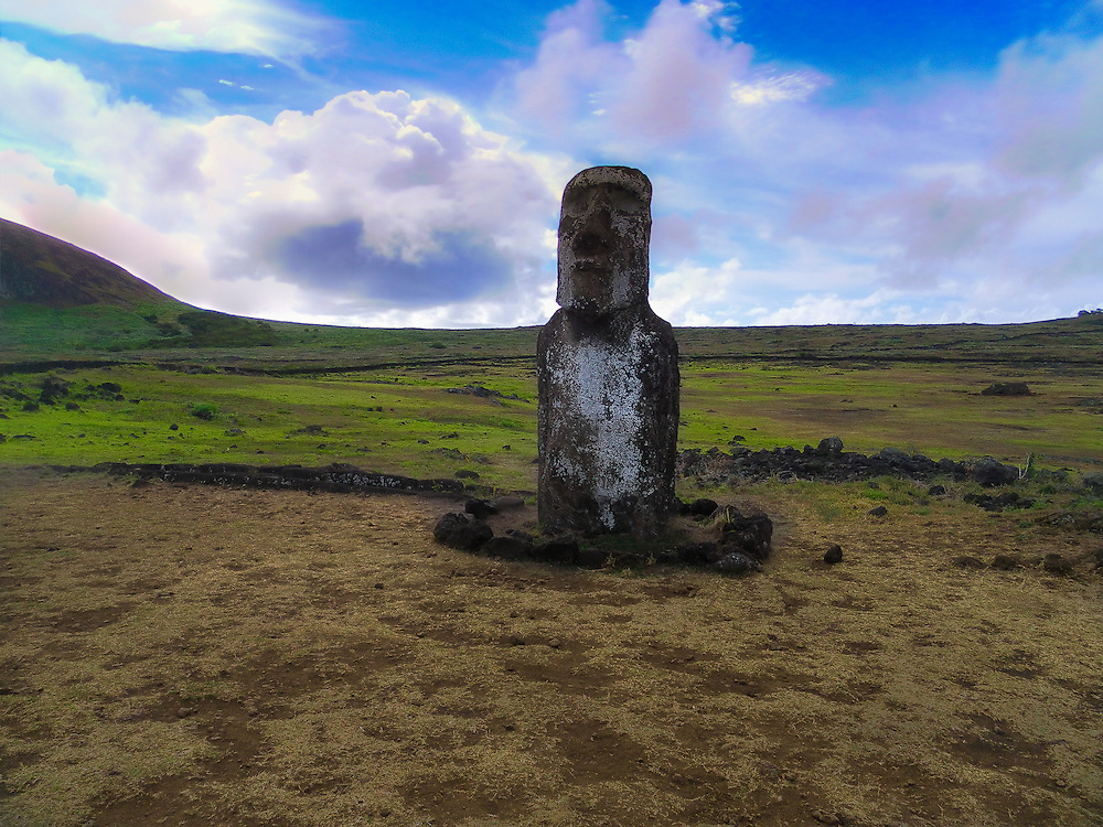 The lonely Moai Tongariki Easter Island.