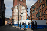 Redevelopment of a site which has been demolished in Manchester, England, United Kingdom. Manchester is a major city in the northwest of England with an industrial heritage.