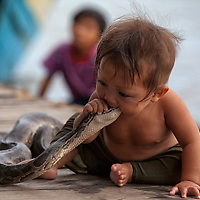 I was taking photos around a restaurant in Chong Khneas as this little boy was putting the python's head in his mouth.