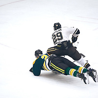3rd year defence man, Zak Hicks (24) of the Regina Cougars during the Men's Hockey Home Game on Sat Jan 19 at Co-operators Center. Credit: Arthur Ward/Arthur Images