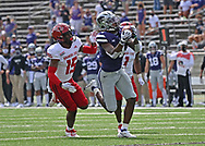 MANHATTAN, KS - SEPTEMBER 12:  Wide receiver Malik Knowles #4 of the Kansas State Wildcats pulls in a pass against cornerback Booker Ficklin #15 of the Arkansas State Red Wolves, during the second half at Bill Snyder Family Football Stadium on September 12, 2020 in Manhattan, Kansas. (Photo by Peter G. Aiken/Getty Images) *** Local Caption ***  Malik Knowles; Booker Ficklin