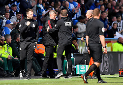 Manchester United Manager Ole Gunnar Solskjaer and Huddersfield Town manager Jan Siewert shake hands after the final whistle of the Premier League match at the John Smith's Stadium, Huddersfield.