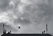 SHOT 12/17/10 3:12:28 PM - Staale Sandbech of Rykkinn, Norway goes airborne off a kicker during qualifiers for Snowboard Slopestyle at the Nike 6.0 Open stop of the Winter Dew Tour at Breckenridge Ski Resort in Breckenridge, Co. The event features ski and snowboard slopestyle and superpipe. (Photo by Marc Piscotty / © 2010)