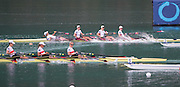 Aiguebelette, FRANCE,   USA W4X, Catch a boat stopping crab, as they cross over the finish line, to take Gold in the Women's Quadruple sculls at the 2015 FISA World Rowing Championships, Venue, Lake Aiguebelette - Savoie. <br /> <br /> Saturday  05/09/2015  [Mandatory Credit. Peter SPURRIER/Intersport Images]. © Peter SPURRIER, Atmospheric, Rowing