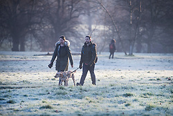 © Licensed to London News Pictures. 22/01/2021. London, UK. Members of the public walk through a frost covered landscape in Hyde Park, central London on a cold winter morning. Parts of the UK are currently experiencing heavy flooding caused by heavy rainfall during storm Christoph.  Photo credit: Ben Cawthra/LNP