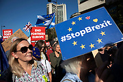 The People's Vote March For The Future on 20th October 2018 in London, United Kingdom. More than an estimated 500,000 people marched on Parliament to demand their democratic voice to be heard in a landmark demonstration billed as the most important protest of a generation. As the date of the UK's Brexit from the European Union, the protesters gathered in their tens of thousands to make political leaders take notice and to give the British public a vote on the final Brexit deal.
