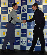 2005 Varsity Boat Race - Challenge - Putney, London., ENGLAND; Robin Bourne_Taylor, Oxford president, [right] shakes hands with Cambridge president Andrew Shannon, after issuing the challenge to row the 2005 Boat race..Photo  Peter Spurrier. .email images@intersport-images...[Mandatory Credit Peter Spurrier/ Intersport Images] Varsity:Boat Race