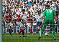 Football - 2018 / 2019 Premier League - Tottenham Hotspur vs. Arsenal<br /> <br /> Heung-Min Son (Tottenham FC)  prepares to strike at the Arsenal goal at Wembley Stadium.<br /> <br /> COLORSPORT/DANIEL BEARHAM
