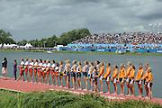 Eton Dorney, Windsor, Great Britain,..2012 London Olympic Regatta, Dorney Lake. Eton Rowing Centre, Berkshire[ Rowing]...Description;   USA W8+ Gold Medalist. .Erin CAFARO (b) , Zsuzsanna FRANCIA (2) , Esther LOFGREN (3) , Taylor RITZEL (4) , Meghan MUSNICKI (5) , Eleanor LOGAN (6) , Caroline LIND (7) , Caryn DAVIES (s) , Mary WHIPPLE (c)..Silver Medalist CAN W8+.  Janine HANSON (b) , Rachelle VIINBERG (2) , Krista GULOIEN (3) , Lauren WILKINSON (4) , Natalie MASTRACCI (5) , Ashley BRZOZOWICZ (6) , Darcy MARQUARDT (7) , Andreanne MORIN (s) , Lesley THOMPSON - WILLIE (c).Bronze Medalist NED W8+. Jacobine VEENHOVEN (b) , Nienke KINGMA (2) , Chantal ACHTERBERG (3) , Sytske DE GROOT (4) , Roline REPELAER VAN DRIEL (5) , Claudia BELDERBOS (6) , Carline BOUW (7) , Annemiek de HAAN (s) , Anne SCHELLEKENS (c)..Dorney Lake. 13:12:34  Thursday  02/08/2012.  [Mandatory Credit: Peter Spurrier/Intersport Images]...Venue, Rowing, 2012 London Olympic Regatta...