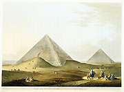 Pyramids at Giza (Gizeh): in foreground is that of Khafre (Chephren) 4th king of 4th dynasty. In background is Great Pyramid of Cheops (Khufu) Old Kingdom c2686-2160 BC. Pyramids one of the Seven Wonders of the World. 'First and Second Pyramid of Gizah Ancient Memphis'  Aquatint after Luigi Mayer published London 1801.