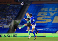 Everton defender Seamus Coleman (23) battles in the air with Brighton and Hove Albion midfielder Pascal Gross (13) header during the Premier League match between Brighton and Hove Albion and Everton at the American Express Community Stadium, Brighton and Hove, England UK on 12 April 2021.