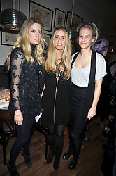 Left to right, Violet Henderson, Cosima Crawley and LADY PHILIPPA HOWARD at the opening of the Brompton Bar & Grill, 243 Brompton Road, London SW3 on 11th March 2009.