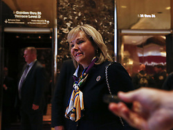 November 21, 2016 - New York, New York, United States of America - Governor Mary Fallin (Republican of Oklahoma) speaks to journalists after meeting with United States President-elect Donald Trump, November 21, 2016, at the Trump Tower in New York, New York..Credit: Aude Guerrucci / Pool via CNP (Credit Image: © Aude Guerrucci/CNP via ZUMA Wire)