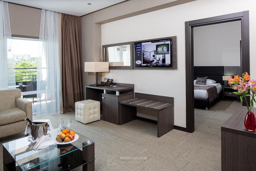 Interior view of Deluxe room in Mirotel Resort & Spa hotel. Mirotel is 5* resort located in the heart of Truskavets, in western Ukraine.