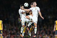 Renato Steffen of FC Basel (l) Granit Xhaka of Arsenal © and Andraz Sporar of FC Basel all compete for the ball. UEFA Champions league group A match, Arsenal v FC Basel at the Emirates Stadium in London on Wednesday 28th September 2016.<br /> pic by John Patrick Fletcher, Andrew Orchard sports photography.