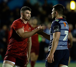 Cardiff Blues' Ellis Jenkins shakes hands with Munster's Chris Cloete<br /> <br /> Photographer Simon King/Replay Images<br /> <br /> Guinness PRO14 Round 15 - Cardiff Blues v Munster - Saturday 17th February 2018 - Cardiff Arms Park - Cardiff<br /> <br /> World Copyright © Replay Images . All rights reserved. info@replayimages.co.uk - http://replayimages.co.uk