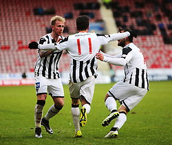 Dunfermline's Joe Cardle cele scoring their second goal.<br /> Dunfermline 3 v 2 Ayr United, Scottish League One played at East End Park, 13/2/2016.