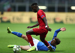 November 17, 2018 - Milan, Italy - Italy v Portugal - UEFA Nations League League A..Nicolo Barella of Italy tackles on Bruma of Portugal at San Siro Stadium in Milan, Italy on November 17, 2018. (Credit Image: © Matteo Ciambelli/NurPhoto via ZUMA Press)