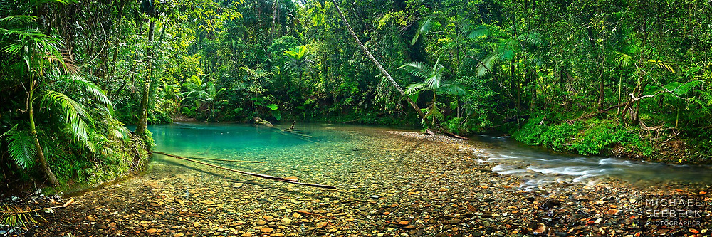 A panoramic photograph of an aqua rainforest pool on a beautiful creek in tropical rainforest.<br /> <br /> Code: HAQT0080<br /> <br /> Limited Edition of 125