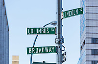 streets names signs  one of the main Manhattan avenues in New York City USA