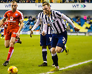 Aiden O'Brien of Millwall with Liam Grimshaw of Chesterfield during the Sky Bet League 1 match at The Den, London<br /> Picture by Richard Brooks/Focus Images Ltd 07947656233<br /> 21/02/2017