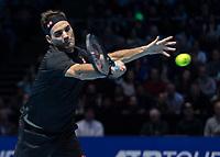 Tennis - 2019 Nitto ATP Finals at The O2 - Day One<br /> <br /> Singles Group Bjorn Borg: Roger Federer (Switzerland) vs. Dominic Thiem (Austria)<br /> <br /> Roger Federer (Switzerland) in action<br /> <br /> COLORSPORT/DANIEL BEARHAM
