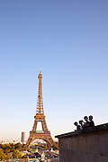 The Eiffel Tower seen from the Trocadero in Paris, France