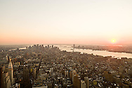 New York . elevated view  on Manhattan cityscape. New Jersey , Hudson river and Manhattan at dusk  New York  United States  view from empire state building / New jersey and Manhattan au coucher du soleil vue depuis