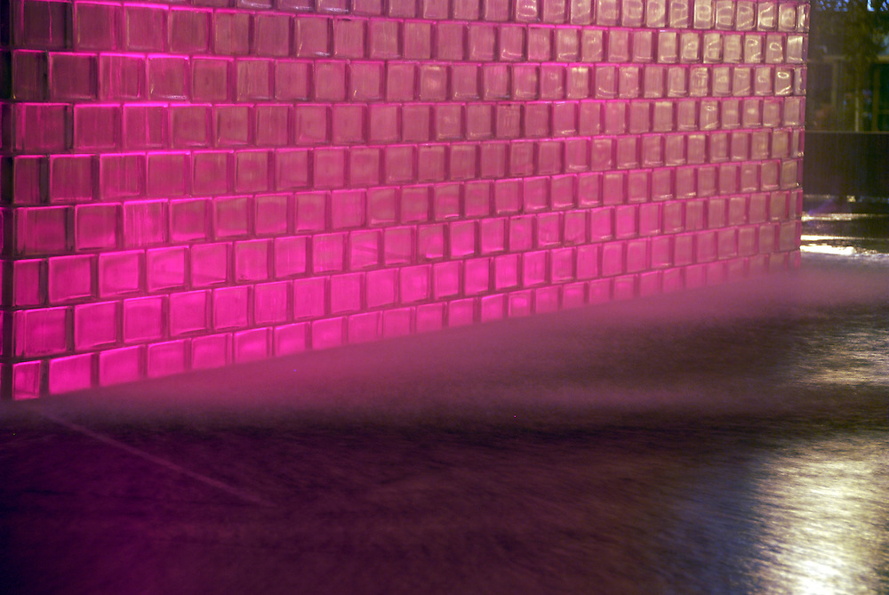 The Crown Fountain @ Millennium Park - Detail of Bricks and Water @ Night