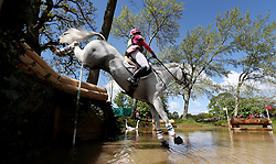 Emma Hyslop-Webb on Waldo III at the Hildon Water Pond on the Cross Country during day four of the 2019 Mitsubishi Motors Badminton Horse Trials at The Badminton Estate, Gloucestershire.