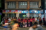 Festival parade and crowds of people in Myeik, Myanmar