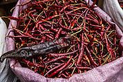 Dried red hot arbol and guajillo chili and pepper at Benito Juarez market in Oaxaca, Mexico.